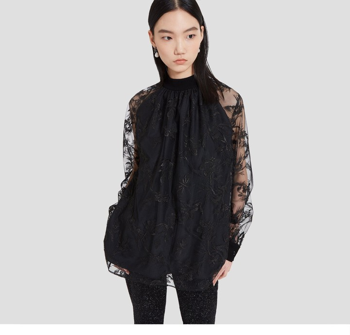 Mulberry Maisy Blouse Black Floral Tulle