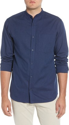 Selected Mart Slim Fit Band Collar Button-Up Shirt