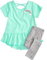 Happy Threads 2-Pc. Rainbow Tunic & Leggings Set, Little Girls