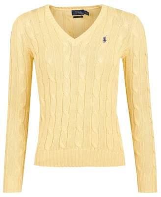 Polo Ralph Lauren Kimberly V Neck Cotton Cable Jumper Colour: Buttercr
