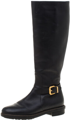 Fendi Black Leather Buckle Detail Knee Length Boots Size 37
