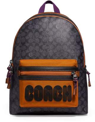 Coach Academy Logo Print Coated Canvas Backpack