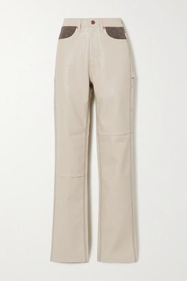 ANDERSSON BELL Mabel Vegan Leather And Herringbone Wool-blend Straight-leg Pants - Cream