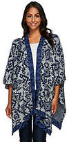 Denim & Co. Jacquard Open Front Poncho with Contrast Trim