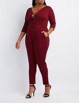 Charlotte Russe Plus Size Lattice-Front Jumpsuit