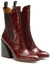 Chloé Wave embossed leather ankle boots