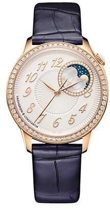 Vacheron Constantin Egerie 18K 5N Rose Gold & Diamond Alligator Strap Moon Phase Watch