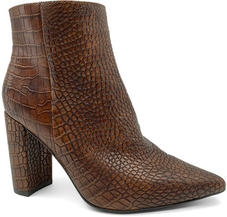 Bamboo Women's Casual boots BROWN - Brown Crocodile Bellflower Bootie - Women