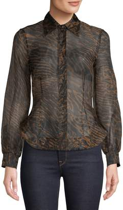 Ganni Printed Long-Sleeve Shirt