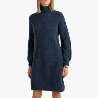Short Shift Jumper Dress with Turtleneck and Long Sleeves