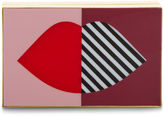 Lulu Guinness Multi 50:50 Stripe Lip Box Clutch