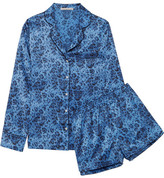 Stella McCartney Poppy Snoozing Leopard-print Stretch-silk Satin Pajama Set - Blue
