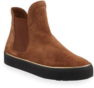 Stuart Weitzman Bigbiarritz Velour Golden-Trim High-Top Sneakers