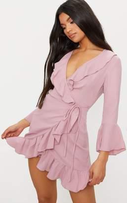 PrettyLittleThing Ilisha Dusty Pink Frill Tea Dress