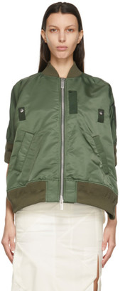 Sacai Khaki Short Sleeve Bomber Jacket