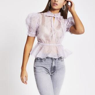 River Island Womens Lilac short sleeve sheer organza top