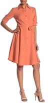 Sharagano 3/4 Sleeve Button Front Shirt Dress