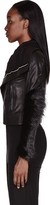 Rick Owens Black Leather Monkey Cuff Biker Jacket