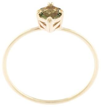 Natalie Marie 9kt Yellow Gold Tiny Hexagon Green Moldavite Ring