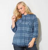 Avenue Plaid Lace Trim Shirt