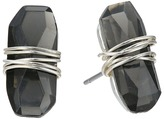 Robert Lee Morris Black Diamond & Silver Wire Wrapped Stud Earrings