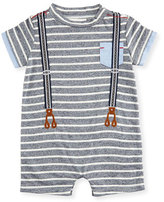 Miniclasix Striped Jersey Suspender Shortall, Blue/White, Size 3-9 Months