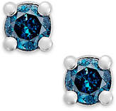 Macy's 10k White Gold Blue Diamond (1/10 ct. t.w.) Round Stud Earrings
