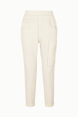 Brunello Cucinelli Bead-embellished Stretch-cotton Jersey Track Pants - White