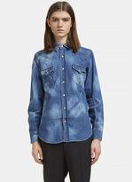 Saint Laurent Men's Repaired Western Bleached Denim Shirt In Blue