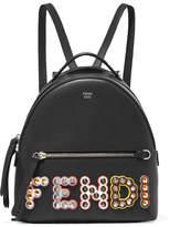 Fendi Studded Appliquéd Leather Backpack - Black