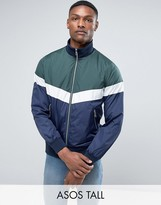 Asos Tall Zip Through Track Jacket With Colour Block Detail