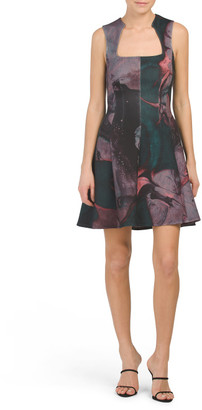 Scuba Printed Fit And Flare Dress