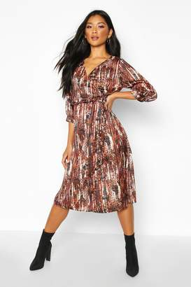 boohoo Woven Leopard Wrap Sleeve Midi Dress