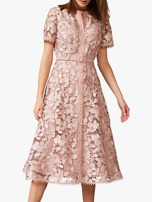 Phase Eight Samana Lace Shirt Dress, Ballet Pink