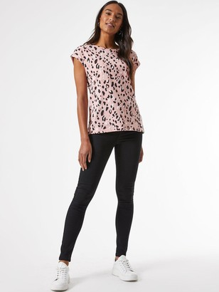 Dorothy Perkins Animal Print Roll Sleeve Top -Pink