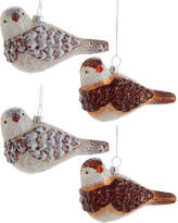 Kurt Adler Glass White And Brown Bird Ornament 4Pc Set