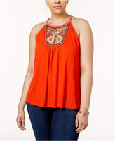 INC International Concepts Plus Size Embroidered Halter Top, Only at Macy's