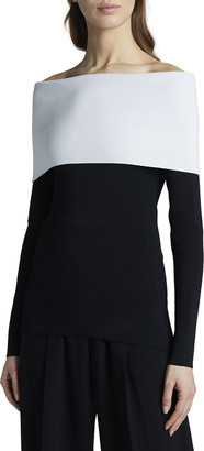 Proenza Schouler Two-Tone Matte Jersey Fold-over Top