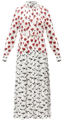 Gabriela Hearst Claudia Floral-print Silk-twill Midi Shirt Dress - Red White