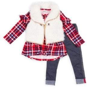 Little Lass Little Girl's 3-Piece Faux Fur Vest, Ruffle Plaid Top & Leggings Set