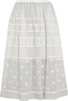 Temperley London Lizette embroidered cotton and silk-blend organdy midi skirt