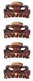 Caravan Four (4) Mini Rounded Teeth Cats Eyes Opening Hair Claw Tortoise Shell 2 Pairs