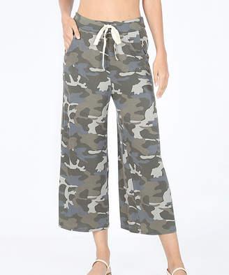 Eag EAG Women's Sweatpants Dusty - Gray Camo Pocket Drawstring-Waist Crop Pants - Women & Plus