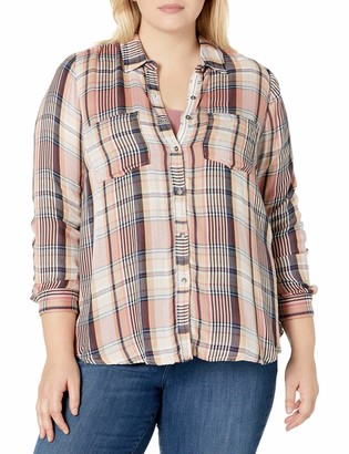 Lucky Brand Women's Plaid Plus-Size Shirt in Pink Multi 1X