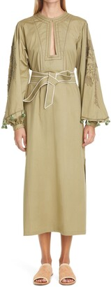 Johanna Ortiz Dancing in Rio Embroidered Palm Long Sleeve Dress