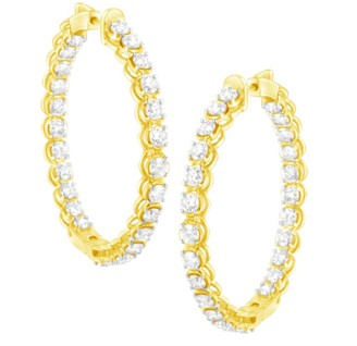 Haus Of Brilliance 10K Yellow Gold Plated .925 Sterling Silver 7 Cttw Round Cut Diamond 1-A Inside Out Hinged Leverback Hoop Earrings