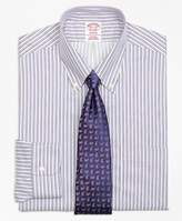 Brooks Brothers Non-Iron Madison Fit Sidewheeler Stripe Dress Shirt