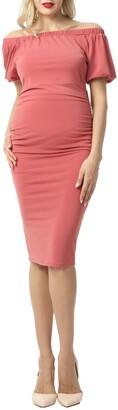 Kimi and Kai Becka Convertible Off the Shoulder Maternity Dress