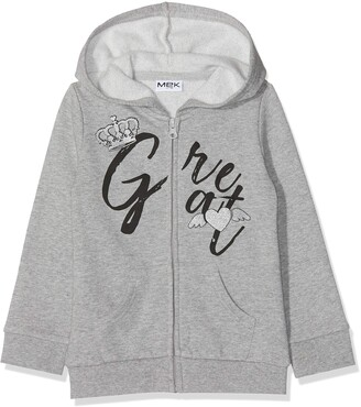 MEK Girl's Full Zipper Felpa Garzata Con Cappuccio Sports Hoodie