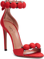Alaia Red suede bomb sandals